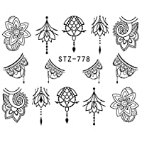 1 Sheet Jewelry Flower Water Decal Black Sticker For Nail Pattern Painting Wrap Paper Foil Tip Tattoo Manicure (778)