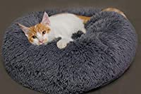 WASAIO クッションクレートパッド上のラウンド犬のベッド洗えるロングぬいぐるみケンネルキャットハウススーパーソフトコットンのフラットネスソファ機械洗浄乾燥機床ノンスリップ (色 : グレー, サイズ : 80cm)