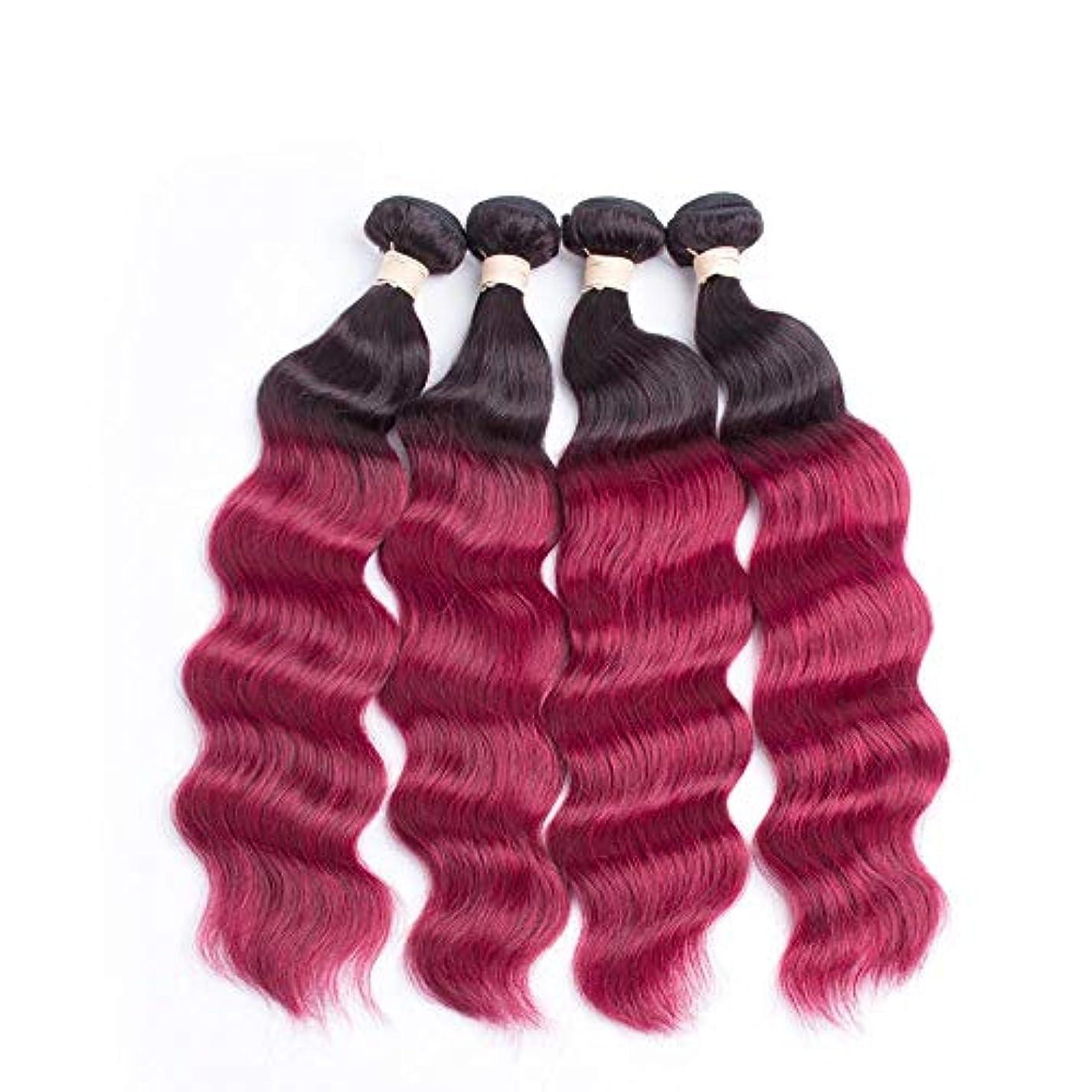 前兆けん引変色するHOHYLLYA ワインレッドの色ブラジルのディープウェーブヘアバンドル100%人毛エクステンション - #1B / BURG 2トーンカラー(8