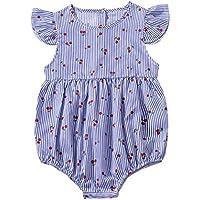 Mornyray Toddler Baby Girls Ruffled Striped Cherry Short Flying Sleeve Romper