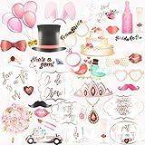 ピンク写真ブース小道具キット バチェロレッテ ブライダルシャワー ウェディングパーティーデコレーション スティック付き