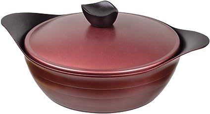 パール金属 卓上 両手鍋 24cm 鍋蓋付 IH対応 フッ素加工 ロゼット HB-1807