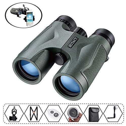 HUTACT 10x42 双眼鏡は、バードウォッチング、コンサート、スポーツ観戦、キャンプ、旅行に適しています。三脚コネクタ、ダブルショルダーストラップ、コンパス、ブルートゥースリモコン、携帯電話クリップ