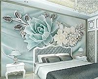 Weaeo モダンスタイルステレオリリーフミントブルーフラワー壁画リビングルームベッドルームテレビの背景写真壁3Dの壁紙-400X280Cm