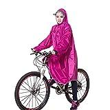 Zjc レインコート 自転車 バイク ロング ポンチョ 男女兼用 メンズ レディース 通勤通学 フリーサイズ 完全防水 高品質 (バラ色)