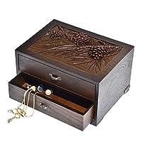 CHUNLAN ジュエリーボックス ソリッドウッドレトロの手は、デュアルストレージジュエリーボックスは、テーブルジュエリーボックス収納ボックスをドレッシングを刻んだ