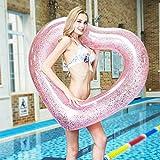 浮き輪 フロート ハート型 大人用 子供用 プール 海 海水浴 ビーチ 撮影 適用 直径120cm(ピンク)
