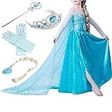 子供用 女の子 キッズ 衣装 クリスマスコスチューム 女王 ドレス 5点セット (ドレス+ティアラ+三つ編み+ステッキ+グローブ) (120, ブルー)