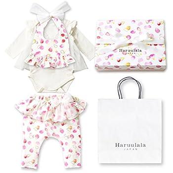 69ca542f1cb37 Haruulala Japan(ハルウララ) 出産祝い 女の子 オーガニックベビー服3点セット (スタイ ロンパース パンツ) (長袖_紙袋付き
