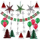 iSuperb ガーランド クリスマス 20/33点 飾り付け セット デコレーション 部屋/店舗/パーティーなどの装飾 (33点)