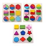 kimurea select (キムレアセレクト) 知育玩具 積み木 型はめ パズル 幼児 3点セット 木製 パズル 3種類 セット 難易度が選べる 積み木 おもちゃ