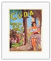 キューバ - ホリデー・アイル・オブ・ザ・トロピックス - キューバのダンサーとマラカス - ビンテージな世界旅行のポスター 1949 - キャンバスアート - 28cm x 36cm キャンバスアート(ロール)