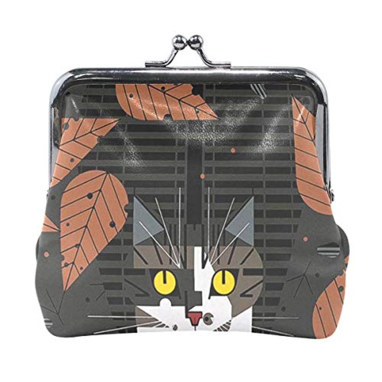 がま口 小銭入れ 財布 黒猫 秋 コインケース レザー製 丸形 軽量 人気 おしゃれ プレゼント ギフト 雑貨