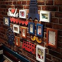 フォトフレームコラージュ ソリッドウッド写真の壁シンプルなフォトフレームの壁ヨーロッパのレトロクリエイティブ建築フォトフレームの組み合わせホームデコレーション (色 : 1)