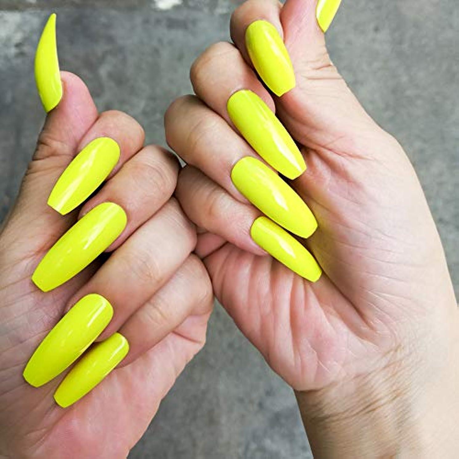 稚魚僕の透過性XUTXZKA エクストラロングフォールスネイル蛍光緑色黄色ヒントフルカバー人工爪プレス