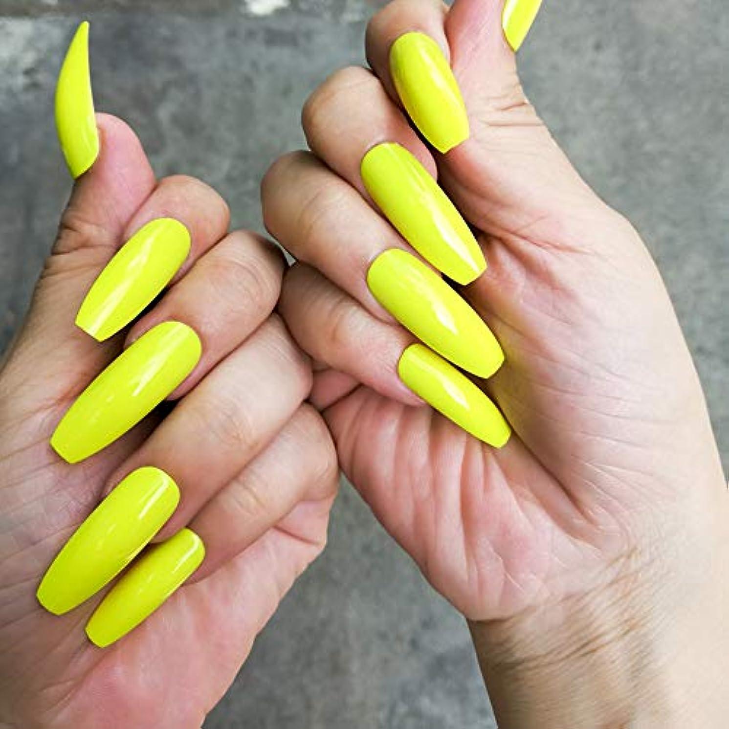 義務的顔料ミスペンドXUTXZKA エクストラロングフォールスネイル蛍光緑色黄色ヒントフルカバー人工爪プレス