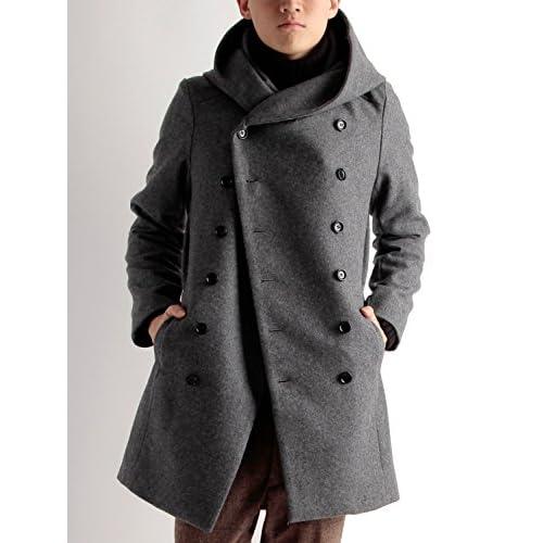 (ラフタス)Rafftas 日本製 メルトン ウール ビッグフード Pコート フリーサイズ グレー 秋 冬 春 メンズジャケット メンズアウター デザイナーズ メンズ