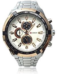 パイロットスタイルアナログウォッチ 立体的な高級感文字盤 防水 シンプル クオーツ ミリタリー メンズ 男性 金属 ベルト 腕時計 ブレスレット セット [Nexus] (シルバー×ゴールド)