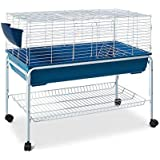 100cm Bunny Home Rabbit Guinea Pig Animal Cage Hutch Habitat Wheel Stand House