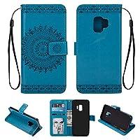 OMATENTI Galaxy S9 ケース, ビジネス PU レザー 財布型 耐衝撃性 ケース, マグネット開閉式 軽量 簡約風 人気カバー 付き スタンド機能 そして カード収納 Galaxy S9 用 Case Cover, 青