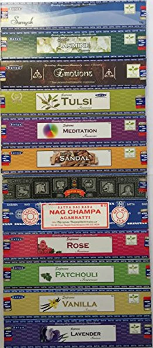 ほとんどの場合パリティけがをするSet of 12 Nag Champa Superhit Sandal Patchouli Jasmine Rose Lavender Samayak Emotions Tulasi Vanilla Meditation By Satya