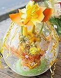 バルーンフラワー 花柄 イエロー オレンジ 系 ( 生花 が バルーン の中に入ったバルーン フラワー ) サプライズ ギフト