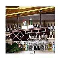 ヨーロッパの純木ワインラックワインラックワインラックガラススタンドディスプレイワイングラスゴブレット逆さまホームワインキャビネットハンガー (色 : ブラウン ぶらうん, サイズ さいず : M m)