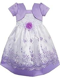 こどもドレス 女の子ドレス キッズドレス フラワードレス 結婚式 発表会 2イン1 紫 レース パーティー 85/90/100/110cm
