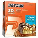 Detour Deluxeホエイプロテインエナジーバー 低糖 キャラメルピーナッツ 85gのバ