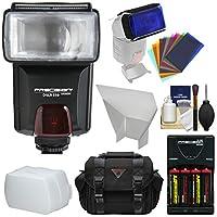 Precisionデザインdslr350高電源自動フラッシュwith電池&充電器+バウンスディフューザー+リフレクター+カラージェルフィルタ+ケース+キット