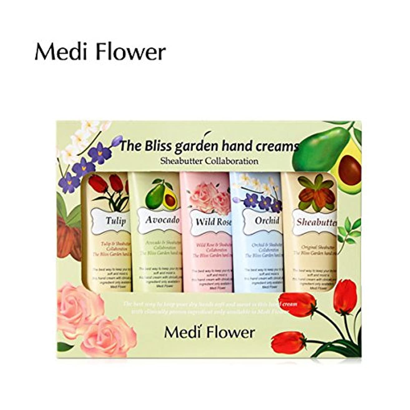 スカーフジャングル放牧する[MediFlower] ザ?ブリスガーデン?ハンドクリーム?シアバターコラボレーション 50g x 5個セット / The Bliss Garden Hand Creams (Sheabutter Collaboration)
