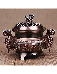 ocamo香炉レトロスタイル合金香炉ダブルドラゴンHollowカバーCenser円錐ホルダーホーム装飾 WCJ-jiaju-0408-22