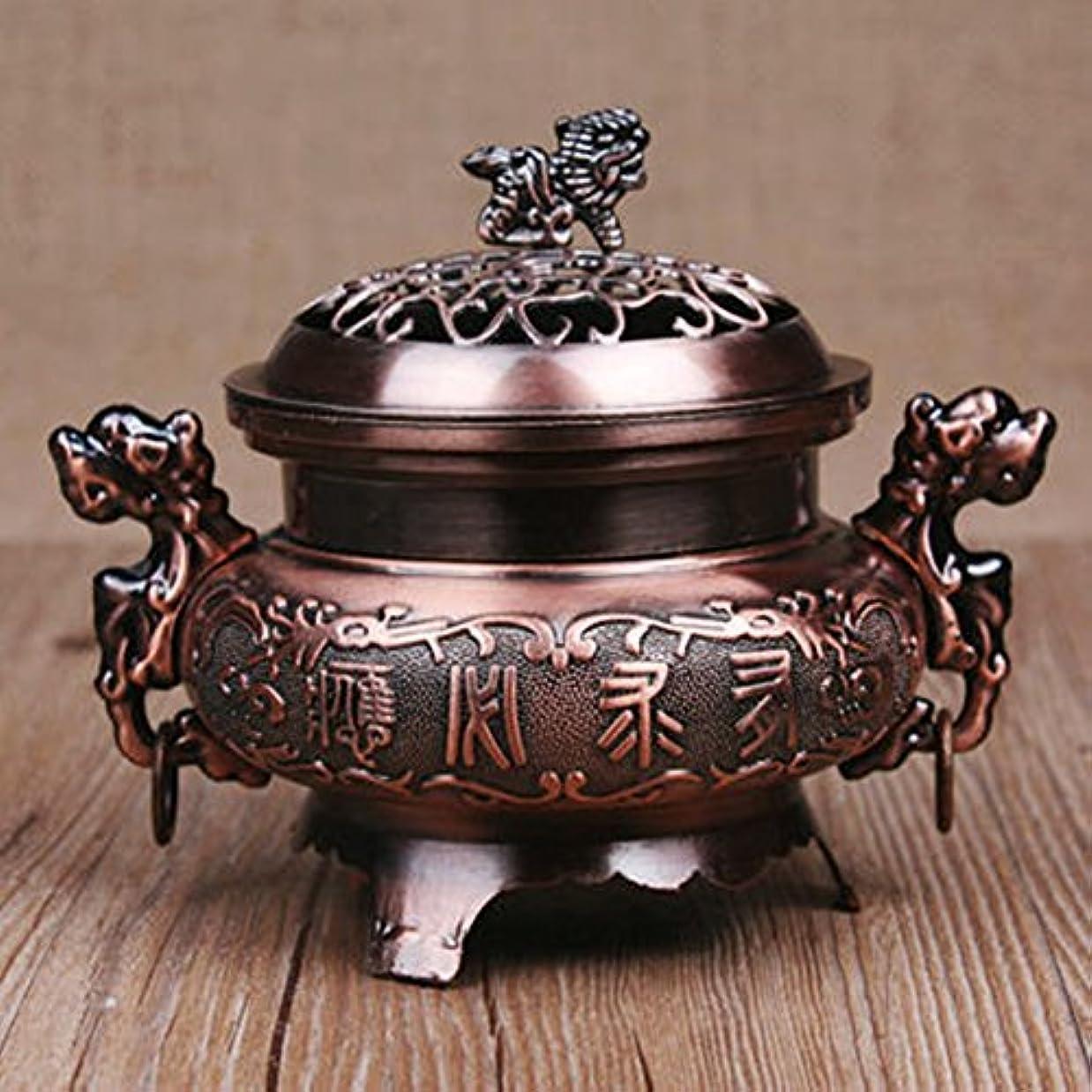 デジタル見分ける比類なきocamo香炉レトロスタイル合金香炉ダブルドラゴンHollowカバーCenser円錐ホルダーホーム装飾 WCJ-jiaju-0408-22