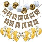 LOLOAJOY ウェルカムベイビーバナー ヴィンテージバーラップバナー リネンフラッグ ベビーシャワー 男の子 女の子 パーティー装飾 1 set LOLOAJOYm0221-1