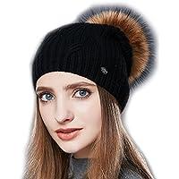 YaToy Unisex Winter Skullies Slouchy Hat Women Fur Pompom Beanie Hat