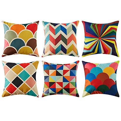 Topfinel クッションカバー Cushion Covers おしゃれ 北欧 ソファ背当て 部屋飾り 幾何学模様 虹色 リネン 45×45CM 6枚セット