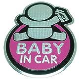 乗車中プレート BABY IN CARステッカー セーフティーサイン ピンク2枚