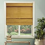 Chicology Cordless Magnetic Roman Shade, Jamaican - Natural Woven, Privacy - Jamaican Antique Gold, 23W X 64H