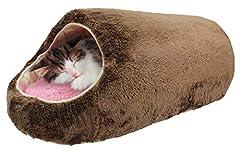 スーパーキャット (Super Cat) ぬくふかロング S ブラウン/ピンクアーガイル
