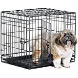 """New World 24"""" Double Door Folding Metal Dog Crate, Includes Leak-Proof Plastic Tray; Dog Crate Measures 24L x 18W x 19H Inches, for Small Dog Breed"""