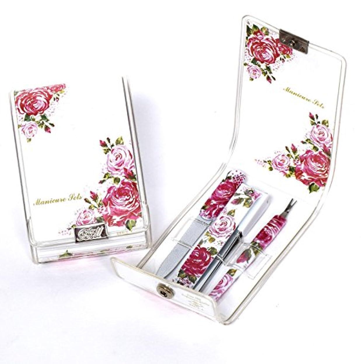 クロスフィット一族BELL Manicure Sets BM-9951 ポータブル爪ケアセットトラベル爪切りセットステンレス鋼の失速構成花のイラストが挿入された透明高周波ケースPortable Nail Clippers Nail Care Set