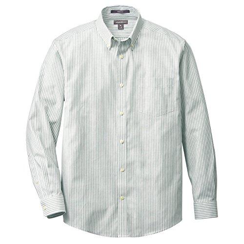 (エディー・バウアー) Eddie Bauer 長袖リンクルフリーオックスフォードクロスパターンボタンダウンシャツ(サファイアストライプ L)