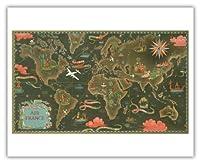 エールフランス地図 - ルート世界地図を飛びます - 星座早見表 - ビンテージな航空会社のポスター によって作成された ルシアン・ブーシェ c.1948 - アートポスター - 41cm x 51cm