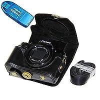 No1accessory XJPT-G5X-01 ブラック Canon PowerShot G5X 専用 防水 PU レザー 一眼レフ カメラバッグ カメラケース ハンドストラップ + SDカードリーダー