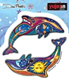 """Dan Morris Dolphin - NIGHT DAY DOLPHINS - 4.4"""" X 4.5"""" - Extra Long Lasting, In/Outdoor, Weather/UV Resistant, Clear Back, Die-Cut Vinyl STICKER / DECAL"""