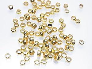 【金具】つぶし玉 かしめ玉 3ミリ ゴールド 約100個