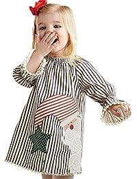 クリスマス スカート 女の子、三番目の店 幼児 子供 赤ちゃん 女の子 サンタ ストライプ プリンセスドレス クリスマスのドレス