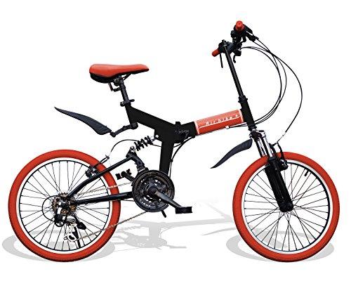Airbike 折りたたみ自転車 ミニベロ 20インチ サスペンション付き シマノ21段変速 (ブラック×レッド)