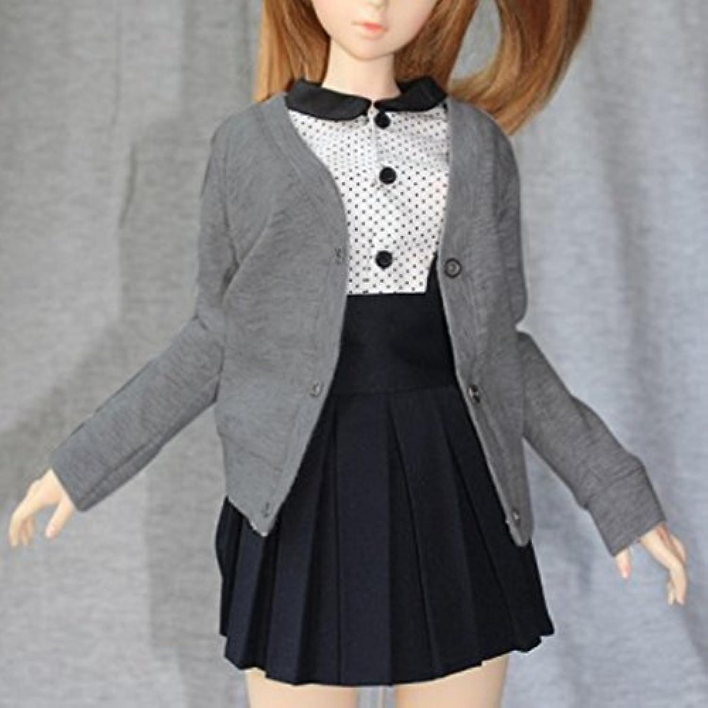 【ノーブランド品】 BJD SD 人形 ボタンを備えた カーディガン セーター 服 アクセサリー 贈り物 グレー 全3サイズ - 1/3