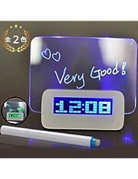 Felimoa 目覚まし時計 手書きメッセージボード ★プレゼントにも最適★ LED液晶 アラーム機能 デジタル(全2色) (ブルー)